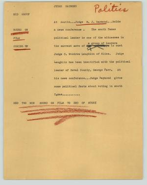 Primary view of object titled '[News Script: Judge Raymond]'.