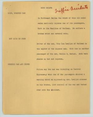 Primary view of object titled '[News Script: News briefs (traffic accidents)]'.