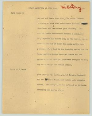 Primary view of object titled '[News Script: Guard maneuvers at Fort Hood]'.