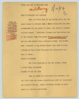 Primary view of object titled '[News Script: Korean War hero is returned home]'.