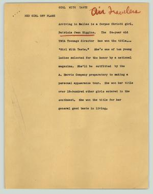 Primary view of object titled '[News Script: Girl with taste]'.