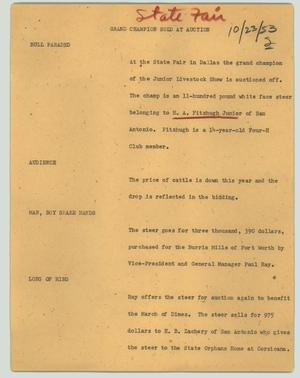 Primary view of object titled '[News Script: Grand champion sold at auction]'.