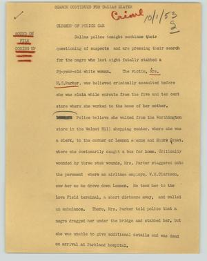 Primary view of object titled '[News Script: Search continued for Dallas slayer]'.