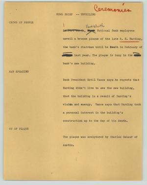 Primary view of object titled '[News Script: News brief - Unveiling]'.