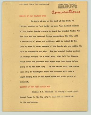 Primary view of object titled '[News Script: Shriners leave for convention]'.