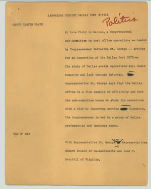Primary view of object titled '[News Script: Lawmakers inspect Dallas post office]'.