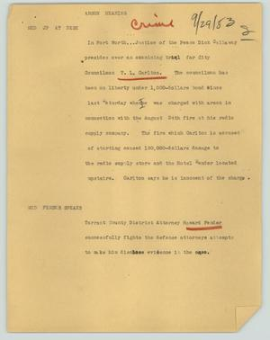 Primary view of object titled '[News Script: Arson hearing]'.