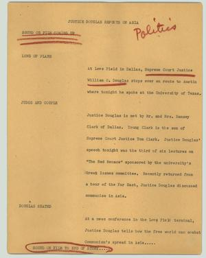 Primary view of object titled '[News Script: Justice Douglas reports on Asia]'.