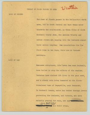 Primary view of object titled '[News Script: Threat of flood passes in area]'.