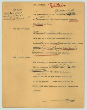 Primary view of object titled '[News Script: Ike arrives]'.