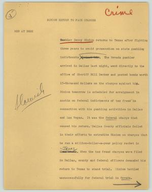 Primary view of object titled '[News Script: Binion returns to face charges]'.