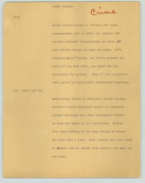 Primary view of object titled '[News Script: Negro burglar]'.
