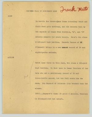 Primary view of object titled '[News Script: Records fall in schoolboy meet]'.