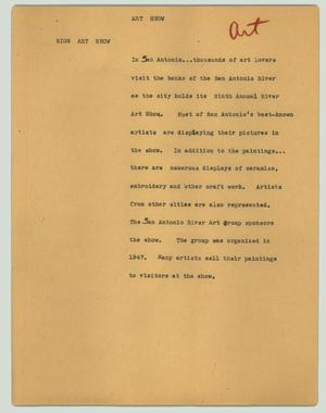 Primary view of object titled '[News Script: Art show]'.