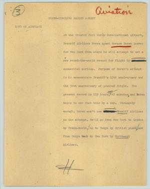Primary view of object titled '[News Script: Globe-circling record sought (aviation)]'.