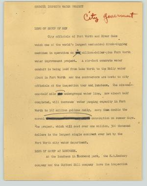 Primary view of object titled '[News Script: Council inspects water project]'.