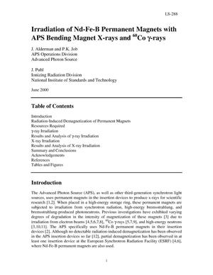 Primary view of object titled 'Irradiation of Nd-Fe-B permanent magnets with APS bending magnet x-rays and {sup 60}Co {gamma}-rays'.