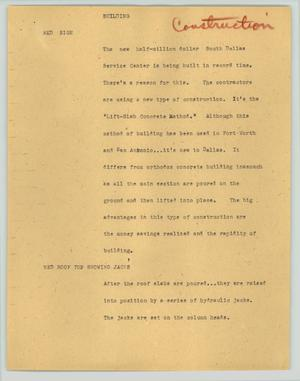 Primary view of object titled '[News Script: Building]'.
