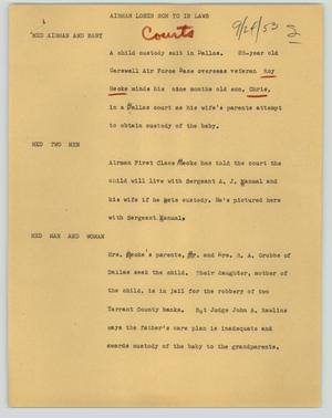 Primary view of object titled '[News Script: Airman loses son to in-laws]'.