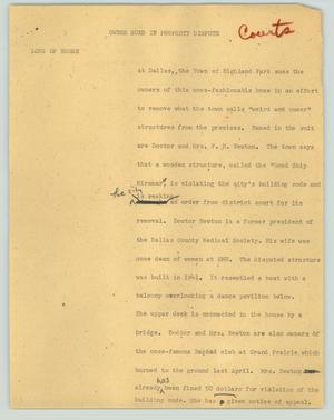 Primary view of object titled '[News Script: Owner sued in property dispute]'.