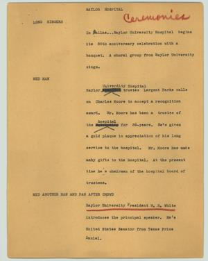 Primary view of object titled '[News Script: Baylor hospital]'.