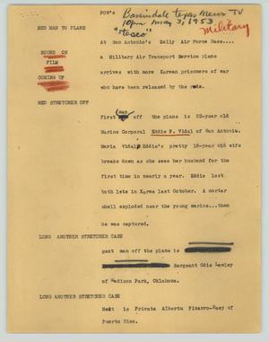Primary view of object titled '[News Script: POW's]'.