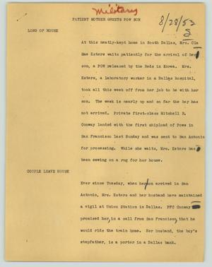 Primary view of object titled '[News Script: Patient mother greets POW son]'.