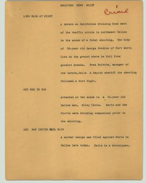 Primary view of object titled '[News Script: Shooting news brief]'.