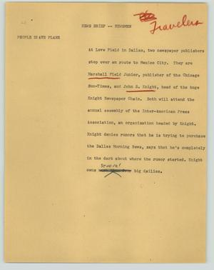 Primary view of object titled '[News Script: News brief - Newsmen]'.