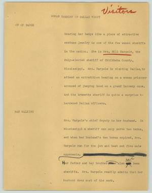 Primary view of object titled '[News Script: Woman sheriff on Dallas visit]'.