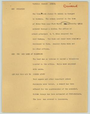 Primary view of object titled '[News Script: Vandals damage school]'.
