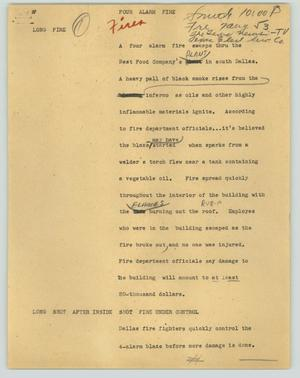 Primary view of object titled '[News Script: Four alarm fire]'.
