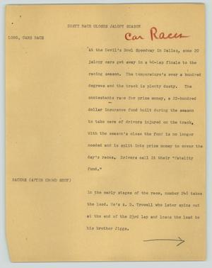 Primary view of object titled '[News Script: Dusty race closes jalopy season]'.