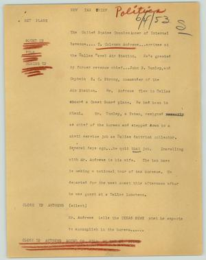 Primary view of object titled '[News Script: New tax chief]'.