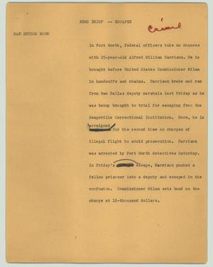 Primary view of object titled '[News Script: News brief - escapee]'.