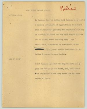 Primary view of object titled '[News Script: Army cites Dallas police]'.