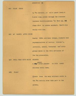 Primary view of object titled '[News Script: Armistice SA]'.