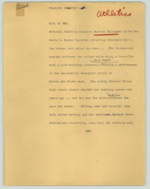 Primary view of object titled '[News Script: Tumbling champion]'.