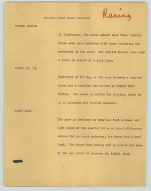 Primary view of object titled '[News Script: Quarter horse beats Cadillac]'.
