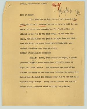 Primary view of object titled '[News Script: Parade, luncheon, honor Hogans]'.