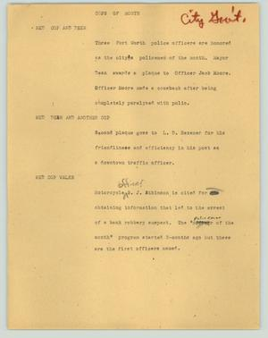 Primary view of object titled '[News Script: Cops of month]'.