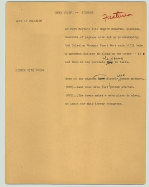 Primary view of object titled '[News Script: News brief - pigeons]'.