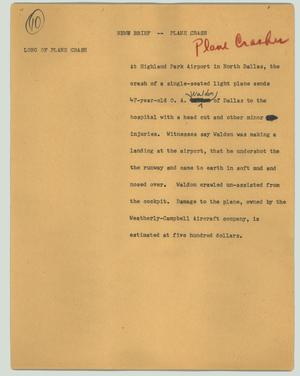 Primary view of object titled '[News Script: News brief - Plane crash]'.