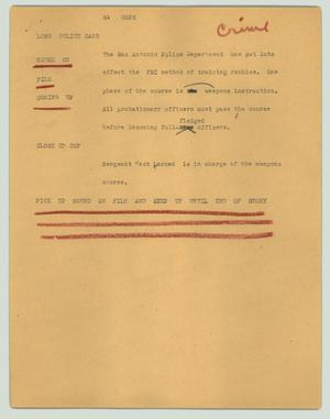 Primary view of object titled '[News Script: SA Cops]'.