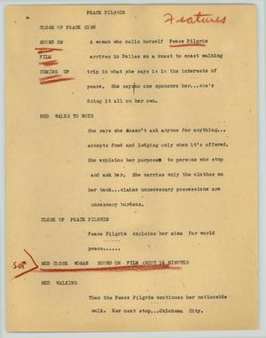 Primary view of object titled '[News Script: Peace pilgrim]'.