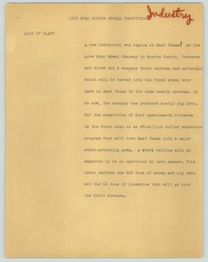 Primary view of object titled '[News Script: Lone Star begins steel production]'.