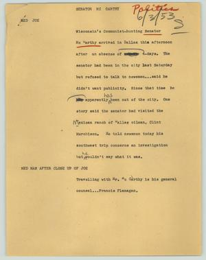 Primary view of object titled '[News Script: Senator McCarthy]'.
