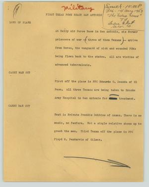Primary view of object titled '[News Script: First Texas POWs reach San Antonio]'.