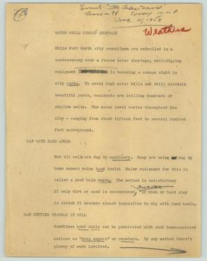 Primary view of object titled '[News Script: Water wells combat shortage]'.