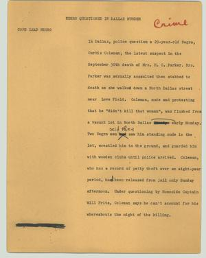 Primary view of object titled '[News Script: Negro questioned in Dallas murder]'.